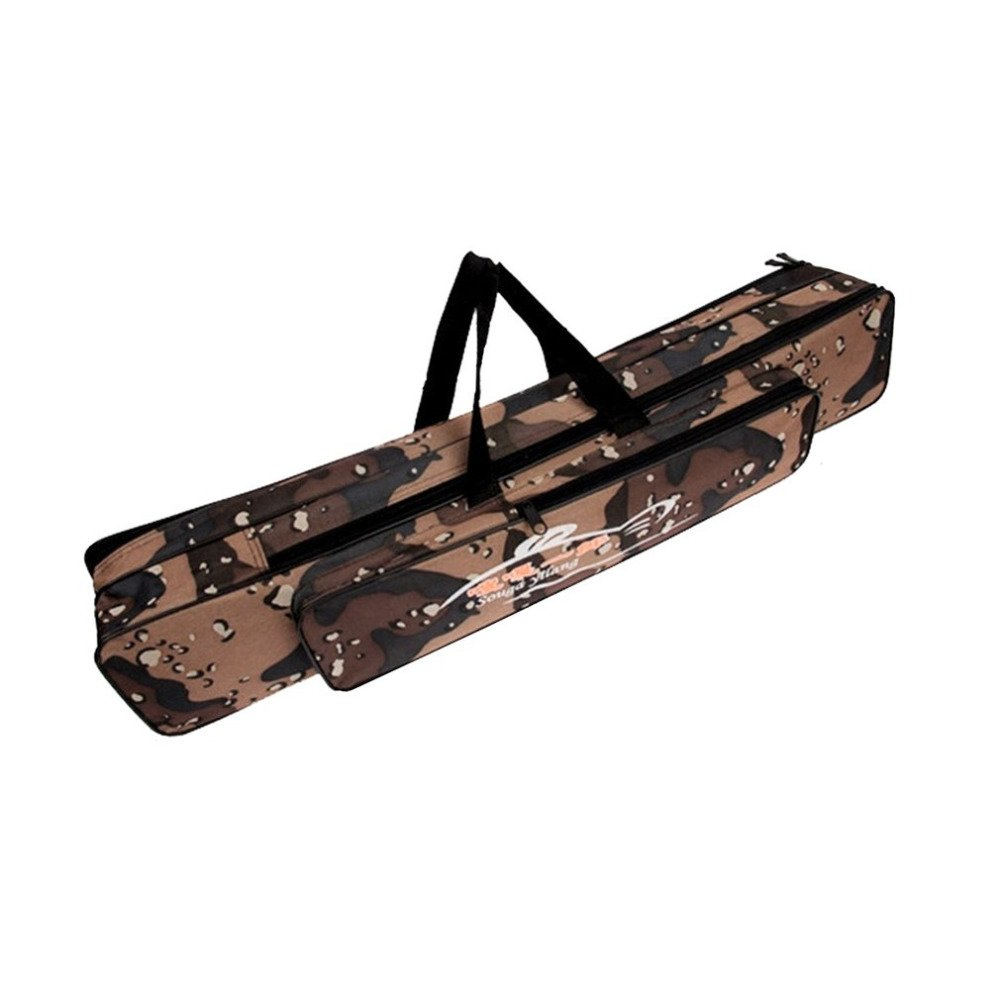 80cm Double Layer Camouflage Fishing Rod Bag Foldable Waterproof Oxford Cloth