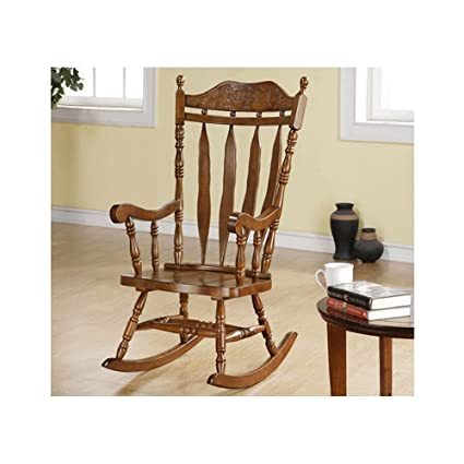 Fine Monarch Specialties High Solid Wood Rocking Chair 45 Inch Dark Walnut Frankydiablos Diy Chair Ideas Frankydiabloscom