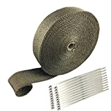 ARTR Titanium Lava Fiber 2'' x 100' Exhaust Header Wrap Kit with 20pcs 11.8 Inch Stainless Locking Ties