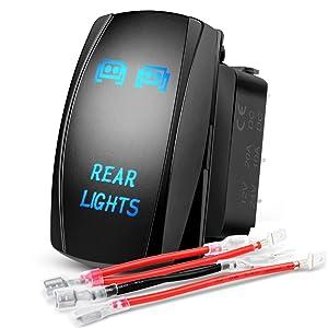 Nilight LED Light Bar Rocker Switch 5Pin Laser On/Off Rear Lights Rocker Switch 20A/12V 10A/24V Switch jumper wires set,2 years Warranty