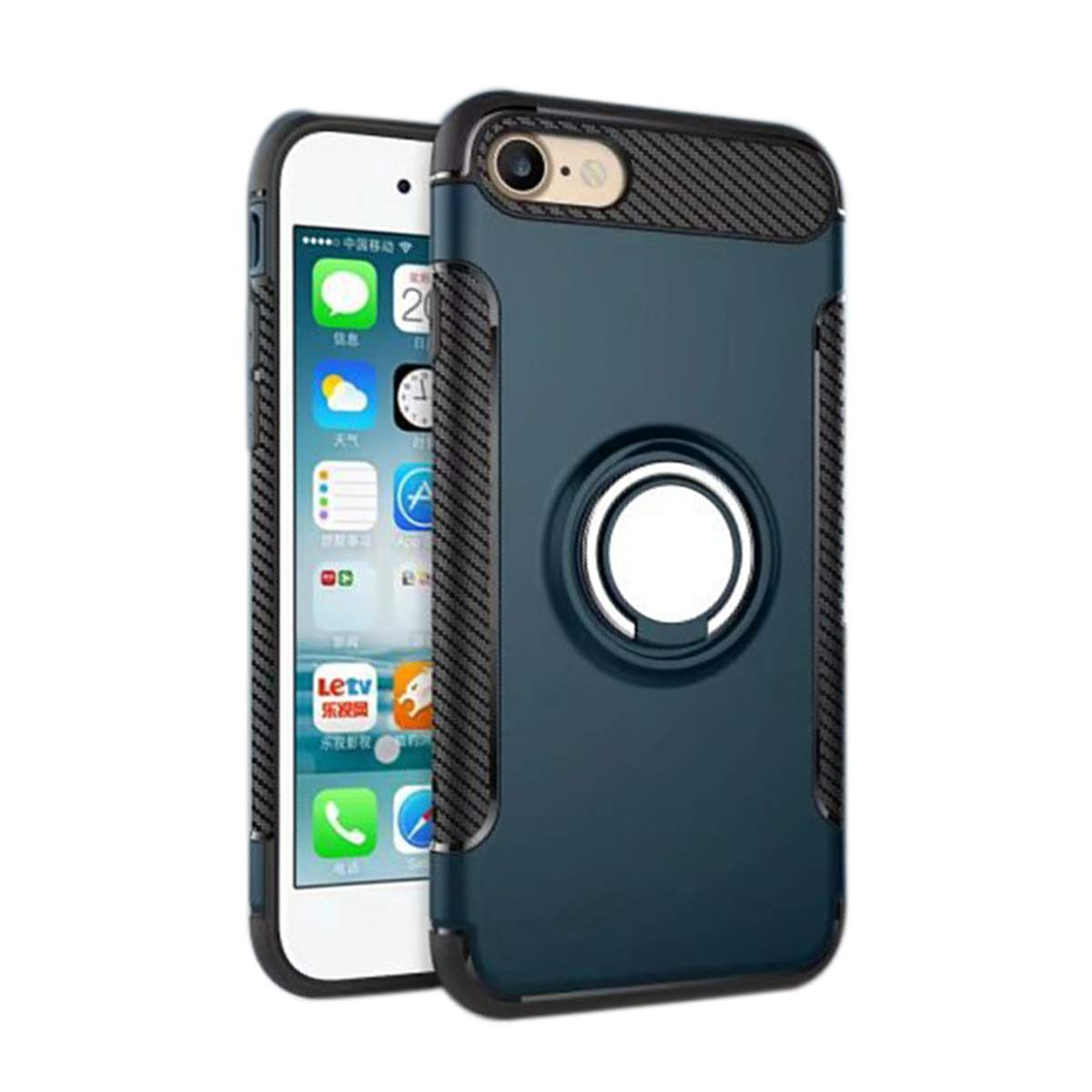Ldea iPhone 6/6S Case, Hybrid TPU+PC Car Holder Stand Magnetic Suction Bracket Finger Ring Shockproof Case Cover for Apple iPhone 6/6S 4.7 inch (Navy Blue) by Ldea