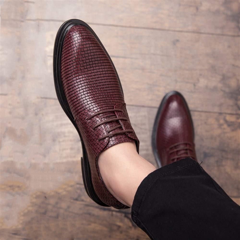 HILOTU Herren Freizeitschuhe Lace-up Style Trendy Weiche Lederschuhe Gewebte Textur Reine Farbe Business-Schuhe Color : Rot, Gr/ö/ße : 38 EU