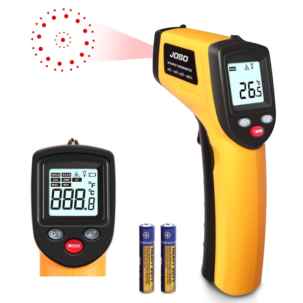 Termometro Infrarossi JOSO Termometro a Infrarossi Laser Termometro Pistola Digitale di Temperatura Senza contatto Emissività Regolabile -50 ℃ ~ 530 ℃ (-58 ℉ ~ 986 ℉), LCD Retroilluminato, Batteria Inclusa