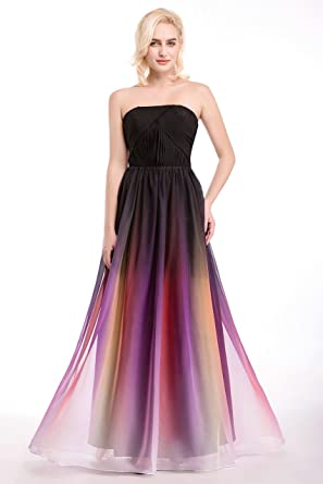 Www Usa Womens Sexy Party Dress Strapless Multi Color Chiffon Full