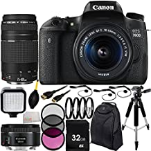 Canon EOS 760D/T6s DSLR Camera with EF-S 18-55mm f/3.5-5.6 IS STM Lens & EF 75-300mm f/4-5.6 III Lens & EF 50mm f/1.8 STM Lens 32GB Bundle 17PC Accessory Kit. Includes 32GB Memory Card + 3PC Filter Kit (UV-CPL-FLD) + MUCH MORE - International Version (No Warranty)