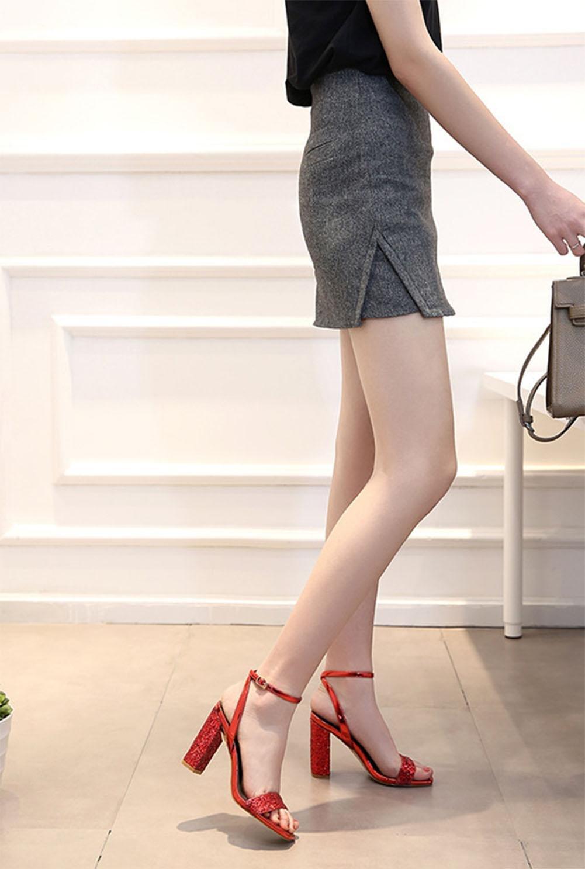 MEILI Lady piazza piazza Lady paillettes spessa con sandali , 4 , US6 / EU36 / UK4 / CN36 4 d87390