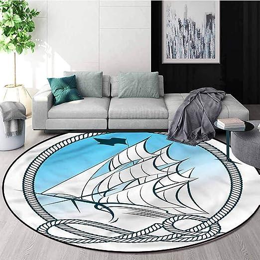Amazon Com Nautical Round Area Rug Sail Ship Rope Frame Flag Foam Mat Bedroom Decor Diameter 59 Home Kitchen