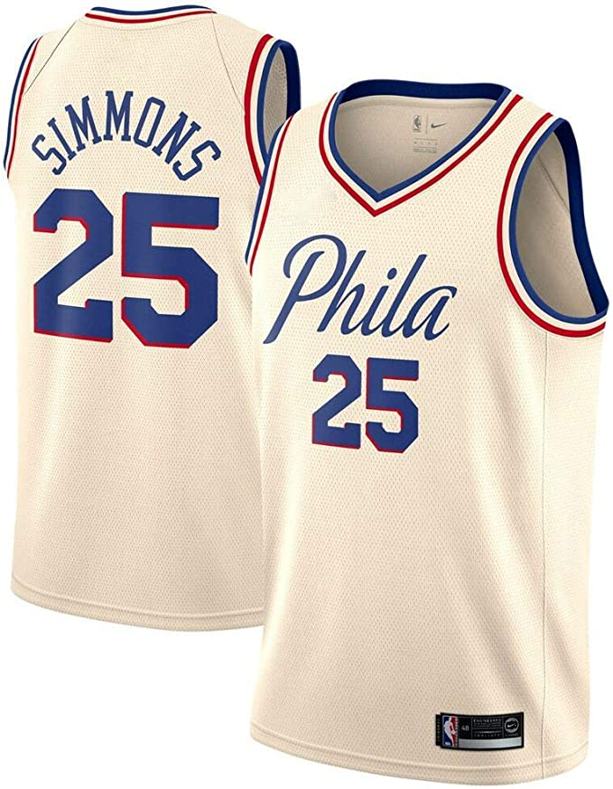 Abbigliamento Sportivo Philadelphia 76ers #25 Basket Jersey Maglia Canotta canottejerseyNBA Ben Simmons Swingman Ricamata