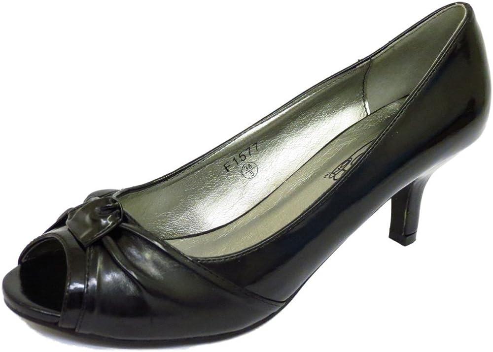 Ladies Black Patent Peep-Toe Slip-On