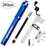 Bodyguard Mini Bike Pump - Reliable Hand Air Pump, Presta and Schrader Valve Compatible with Road, Mountain and BMX Bicycle Tires, High Pressure 260 Psi, 7.3 inches