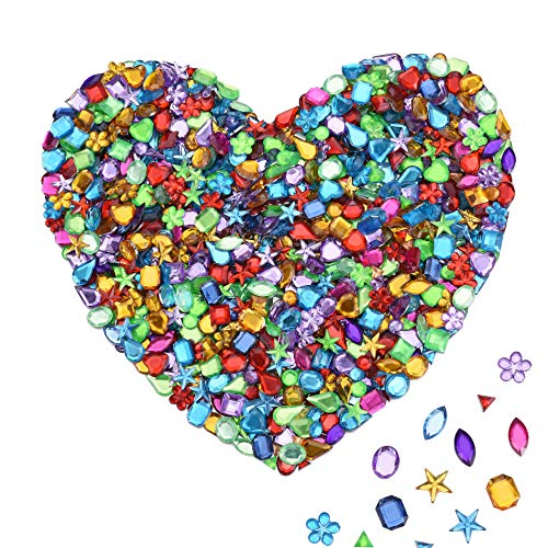 1000pcs Acrylic Flatback Rhinestones Gemstone Embellishments for Arts and Crafts Jewels, 10Shapes, 6-13mm, with Tweezers and Bag