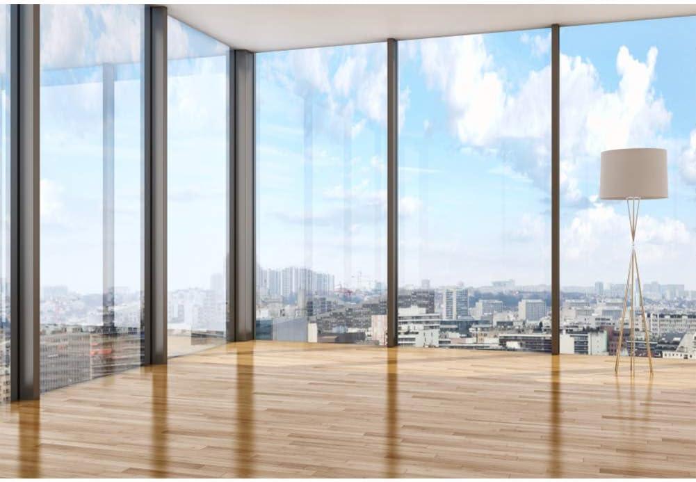 10x8FT Skyscraper Window Backdrop Office Building French Window Transparent Glass Window City Landscape Wood Floor Photography Background Adults Portrait Studio Props Vinyl Wallpaper