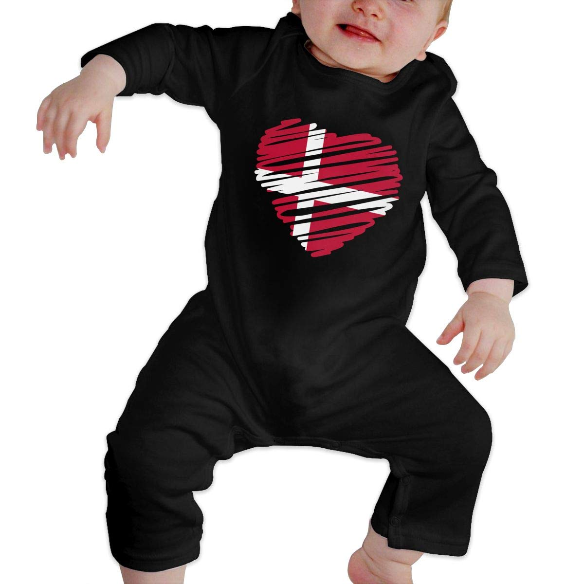 Q64 Baby Girls Round Collar Denmark Heart Flag Long Sleeve Playsuit 100/% Cotton Suit 6-24 Months