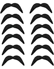 12 x BLACK NOVELTY MEXICAN TASH BIKER 70'S MOVEMBER 118 FANCY DRESS MOUSTACHE