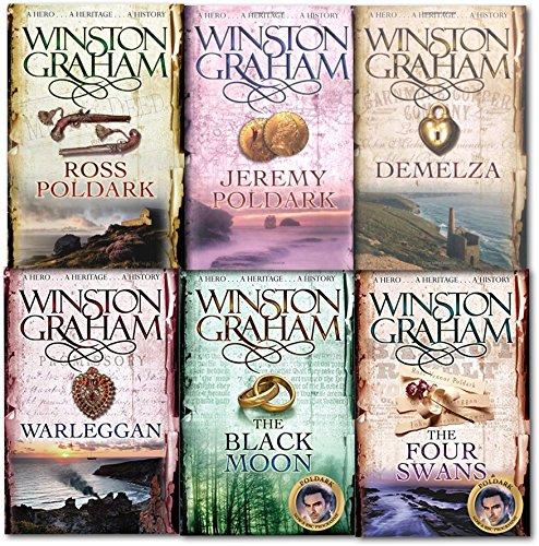 Winston Graham Poldark Series 6 Books Collection Set A Novel of Cornwall (Ross Poldark, Demelza, Jeremy Poldark, Warleggan, The Black Moon, The Four - Swans Black Pictures