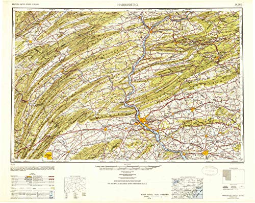 Mountain Laurel Shade - YellowMaps Harrisburg PA topo map, 1:250000 Scale, 1 X 2 Degree, Historical, 1950, Updated 1952, 24 x 30.2 in - Polypropylene