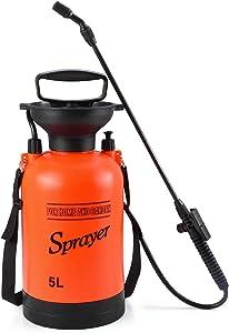 Seeutek Garden Pump Sprayer 1.3 Gallon Yard and Lawn Sprayers for Weed Plant with Pressure Relief Valve, Adjustable Shoulder Strap