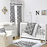 Black and White Tile Print 4 Piece Baby Crib Bedding Set by The Peanut Shell