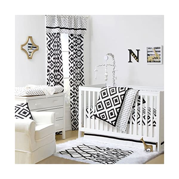 Black and White Tile Print 3 Piece Baby Crib Bedding Set by The Peanut Shell