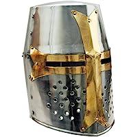 "Szco Supplies 14"" Decorative Barrel Brass Helm Crusader Helmet"