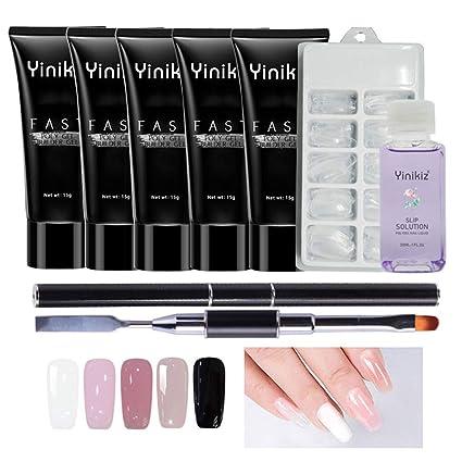 KOBWA Kit de uñas de gel de polietileno, juego de 4 extensiones de uñas, herramienta de ...