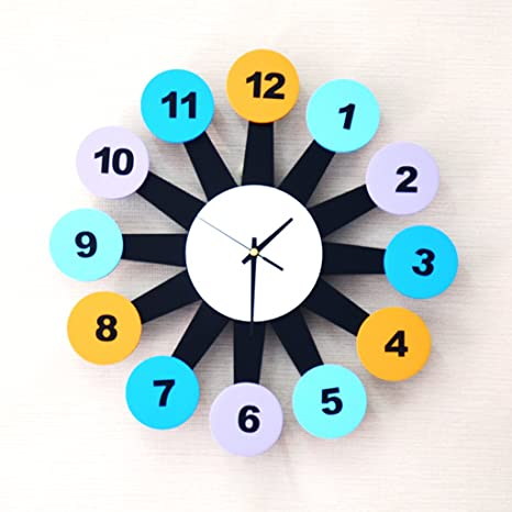 Amazon.com: Color figures Tree shape Childrens room wall clock Creative Quartz clock decoration Wall clock bedroom Mute Pocket watch Crafts: Home & Kitchen