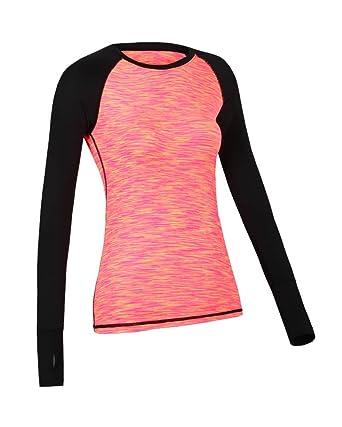 Mujer Color Sólido Camisetas Yoga Fitness Manga Larga ...