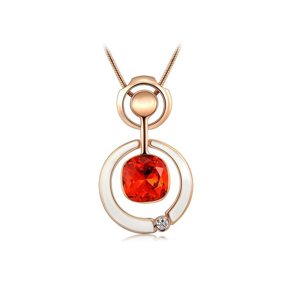 Rose Gold Plated Wedding Necklace Creative Red Rhinestone Zircon Necklace