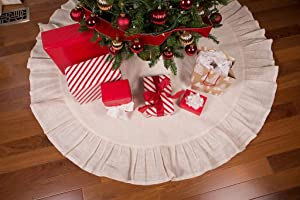 """Primitive Home Decors 60"""" Cream Christmas Tree Skirt with Ruffled Edge and Cotton Backing"""