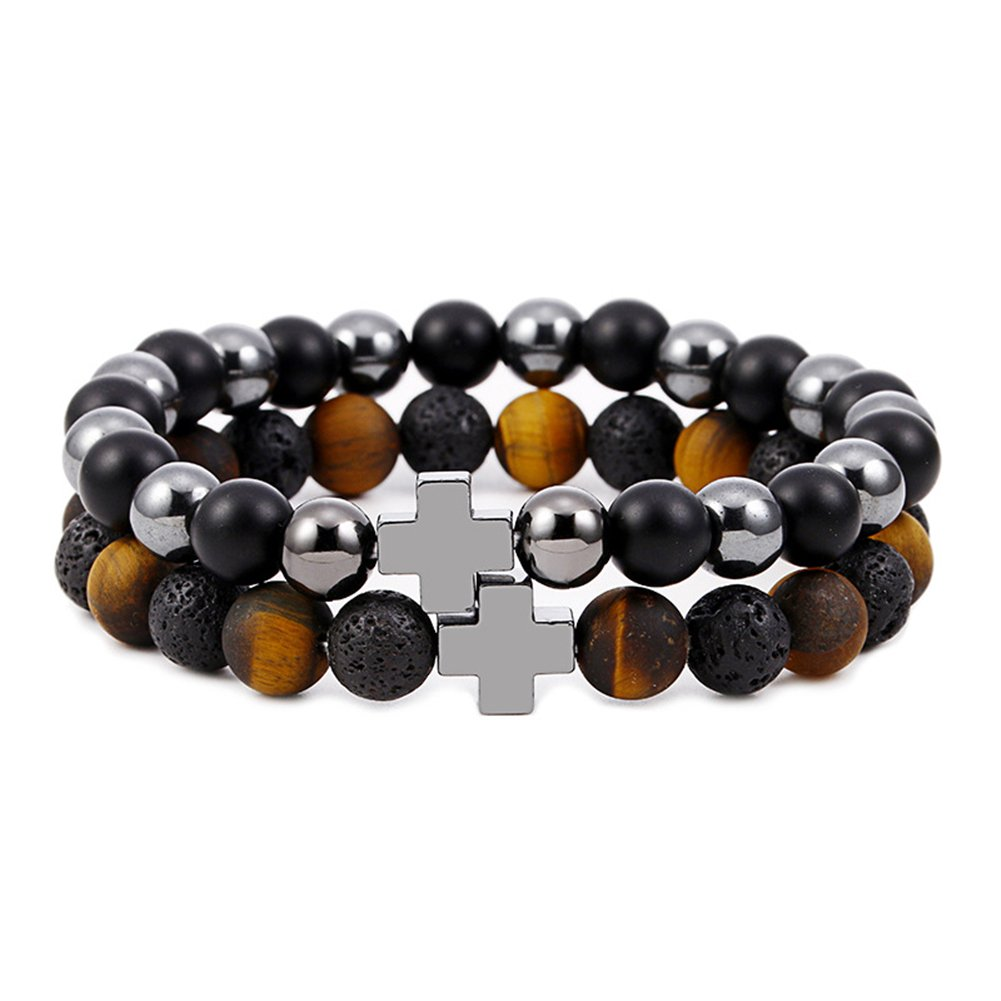 2PCS Cross Natural Lava Rock Stone Black Matte Agate Tiger Eye Beads Bracelet Stretch Bracelet for Men SBYZ Bead-002