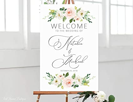 photo about Wedding Sign Printable identified as : Dozili Stylish Wedding ceremony Welcome Indicator Calligraphy