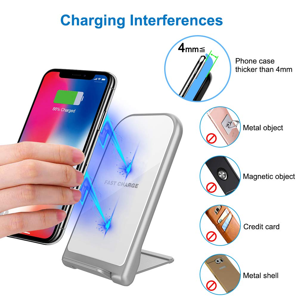 KZY Fast Wireless Charger Stand, QI Certified Wireless Charger Compatible for iPhone X/8/8+, Folding Wireless Stand Charger for Galaxy S9/S9+ S8/S8+ S7/S7 Edge, White (with QC 3.0 AC Adapter)