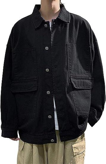 [ユリカー] ジャケット メンズ 長袖 春秋 デニム 無地 ポケット付き ボタン 通勤 通学 おしゃれ ゆったり 防風 防寒 大きいサイズ カジュアル コーディネート
