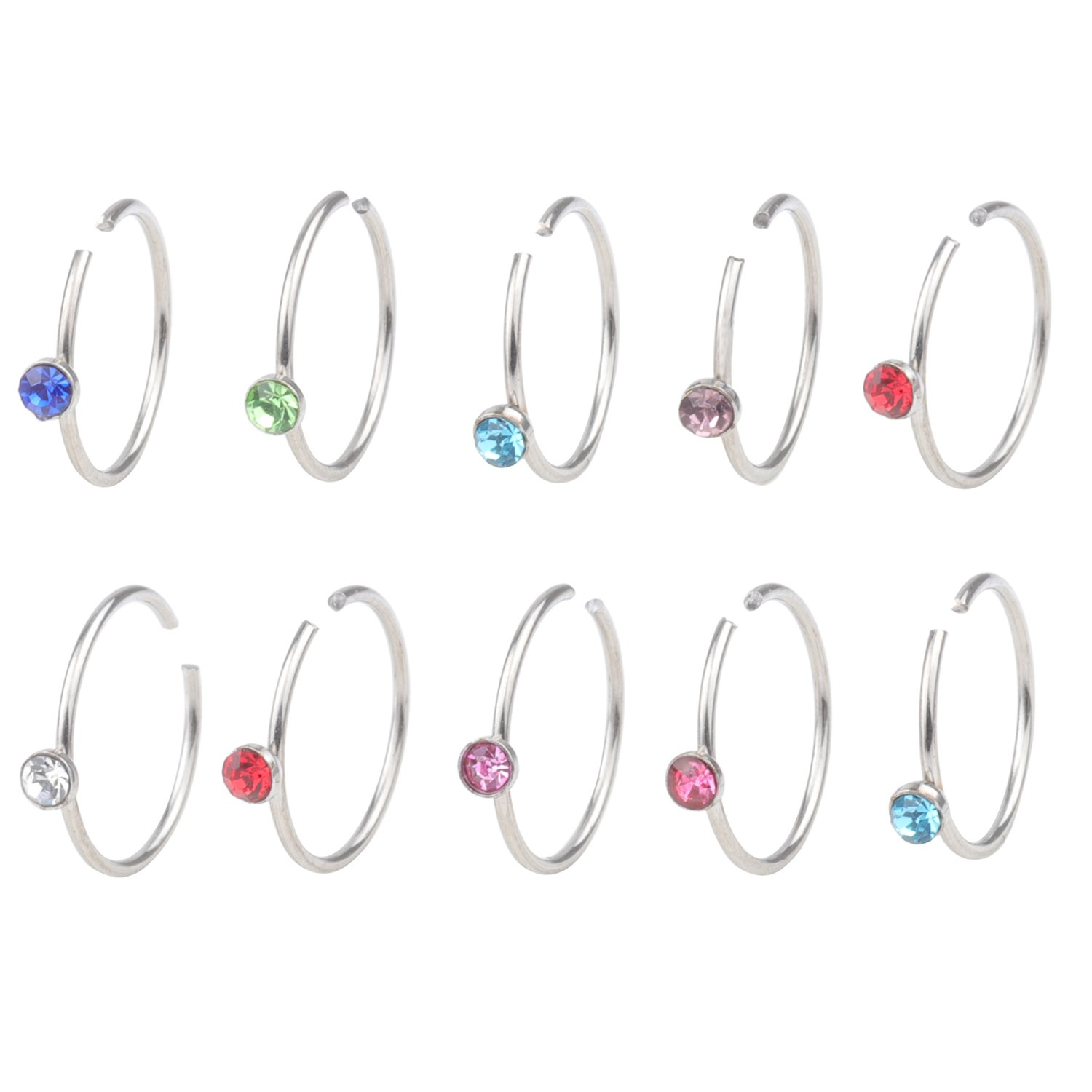 DRS 2-8pcs 20G Stainless Steel With Crystal Body Jewelry Piercing Nose Ring Hoop Nose Piercing 8mm