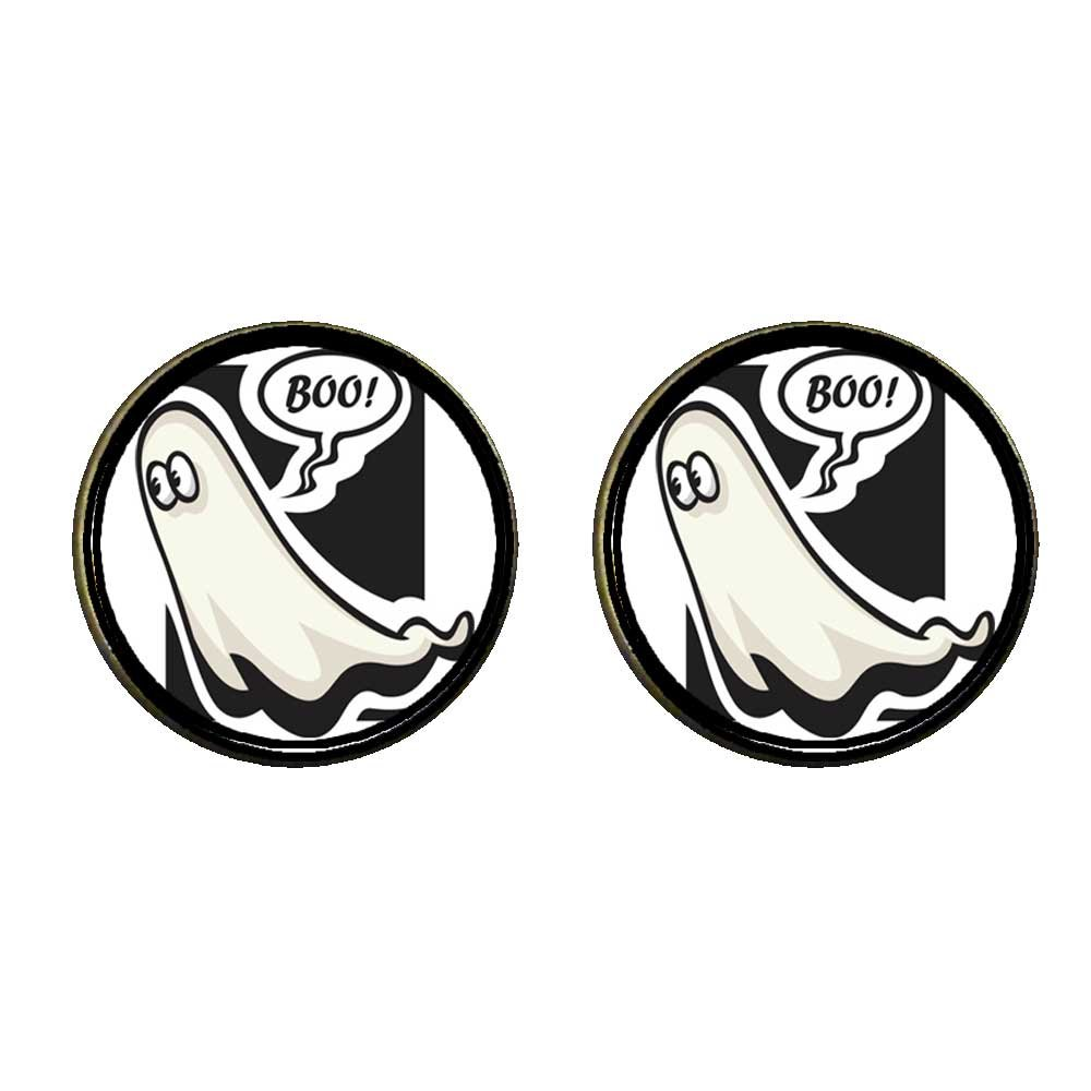 GiftJewelryShop Bronze Retro Style Halloween ghost boo Photo Clip On Earrings 14mm Diameter