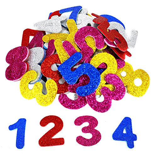 Bestartstore 150pcs 4cm Mixed Colors Self-adhesive Glitter Foam EVA Numbers Stickers for Kid's Arts Craft Supplies Greeting Cards Home Decoration]()