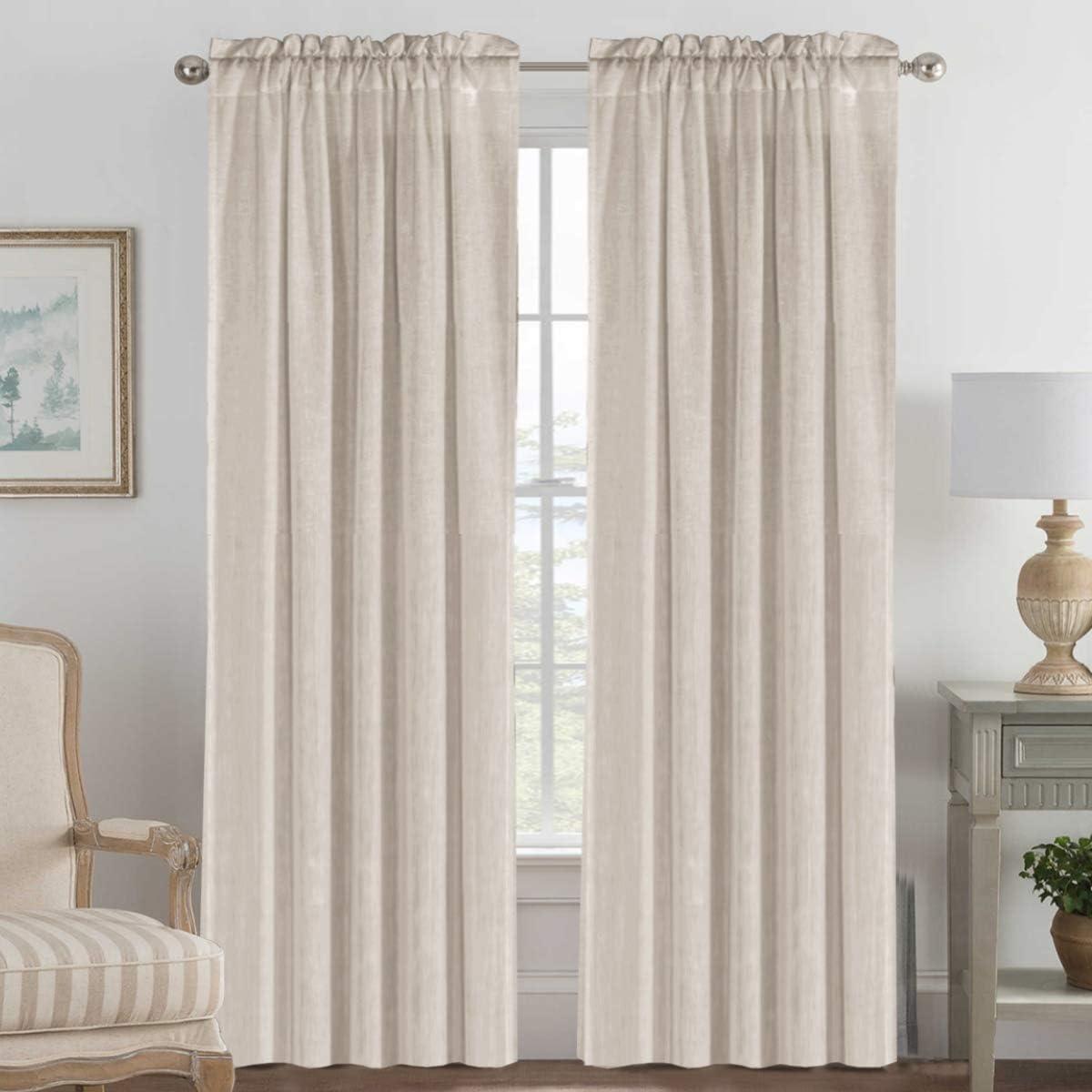 H.VERSAILTEX Pair Set Natural Linen Blended Window Treatment, Rod Pocket Top Premium Soft Rich Light Reducing Curtain Panels for Living Room - 52x84-Inch-Angora