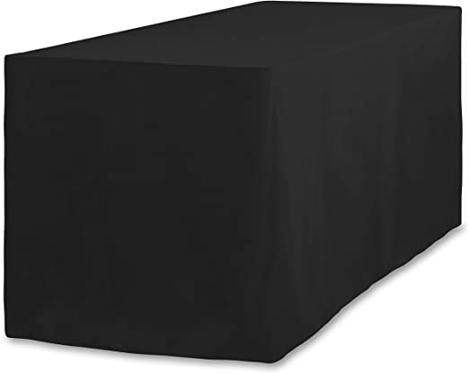 Fitted Polyester Tablecloth Black 8FTTD-010111 LinenTablecloth 8 ft