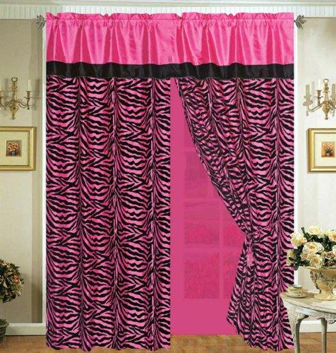 Hot Pink / Black Comforter Set Animal Zebra Print Flocking Bed In A Bag California King Size Bedding