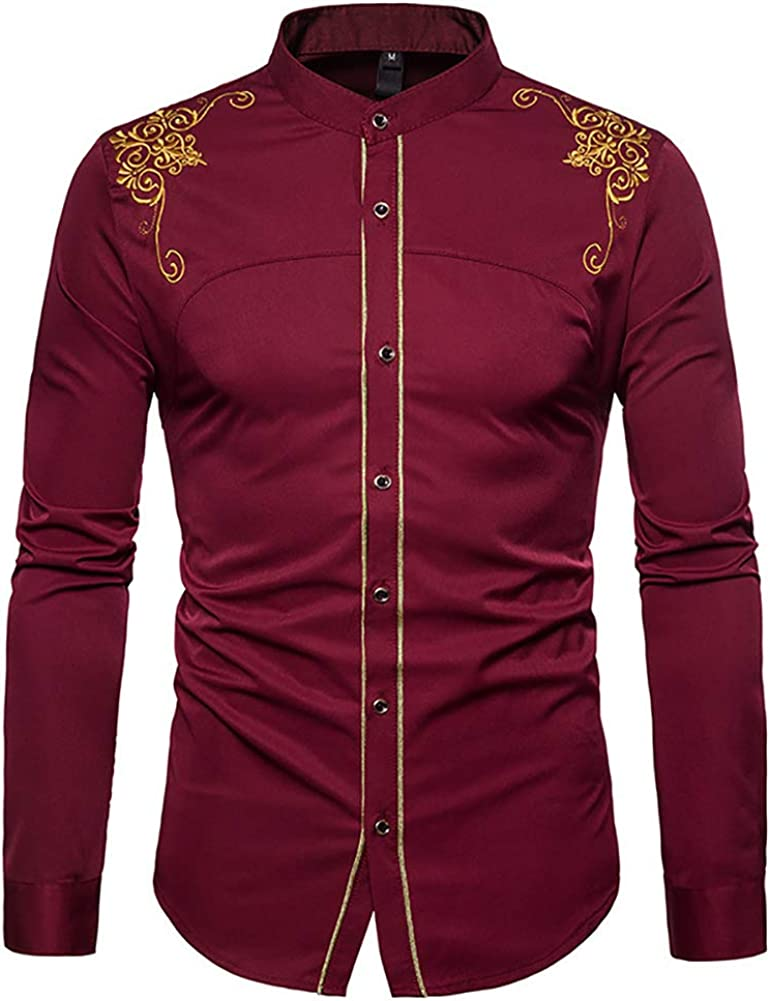 Mens Hipster Gold Embroidery Dress Shirts Casual Slim Fit Long Sleeve Button Down Shirts Tops