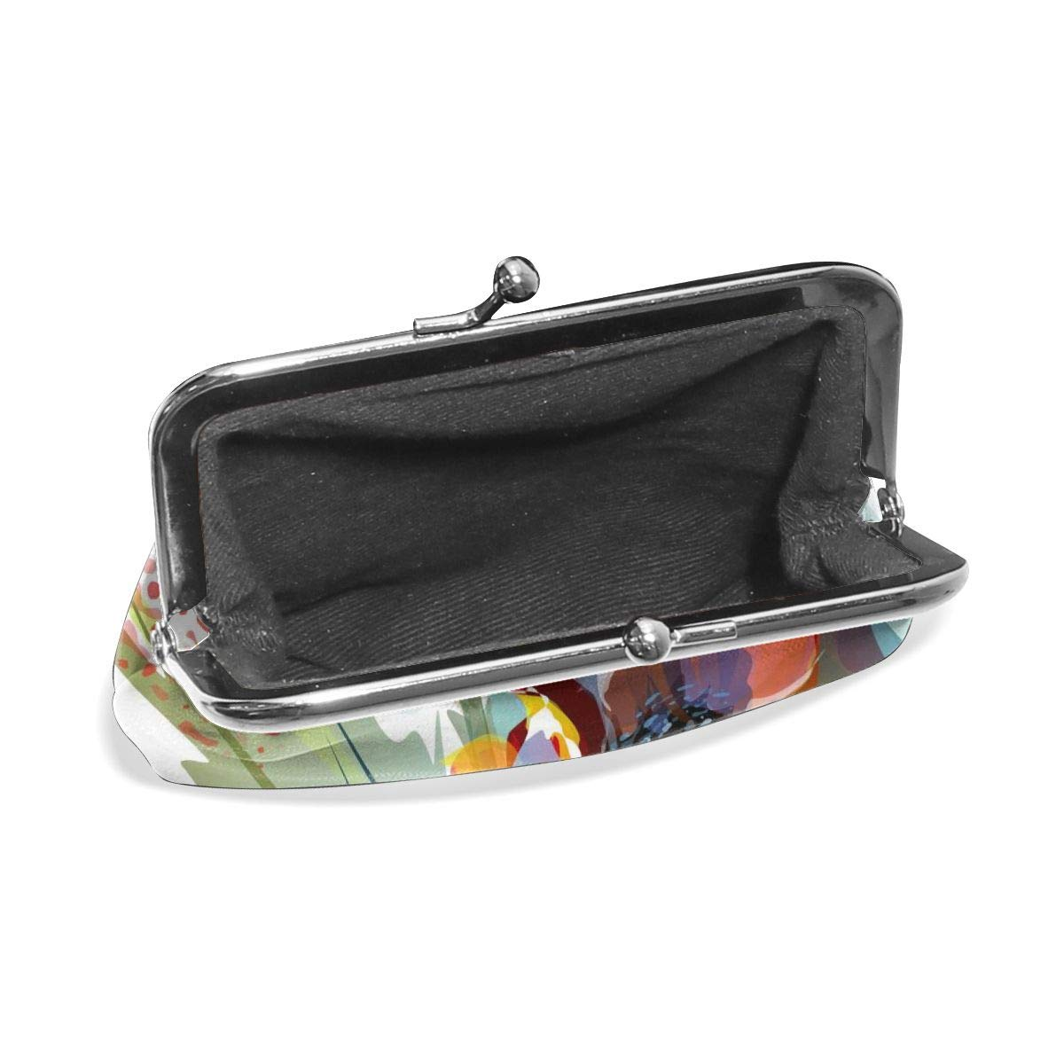 Retro Watercolor Blooming Delicate Flowers Key Buckle Coin Purse For Womens