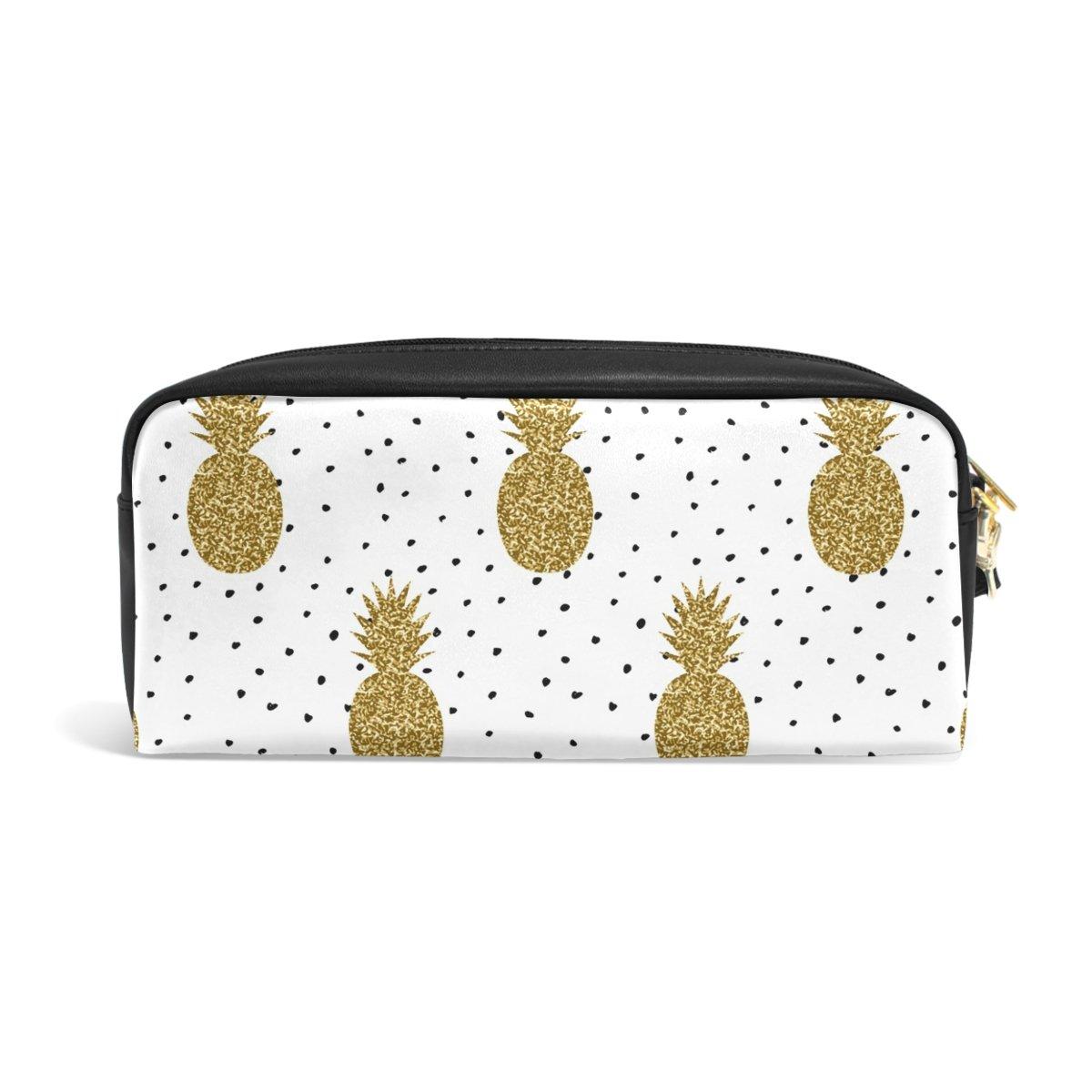 zzkko dorado con purpurina piñas en negro y blanco lunares de funda de lunares piel cremallera lápiz pluma estacionaria bolso de la bolsa de cosméticos bolsa bolso de mano d50027