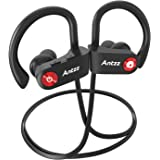 Antzz Bluetooth Headphones IPX7 Waterproof Wireless Headsets Stereo In-Ear Earbuds Secure Earphones Sports Gym Travelling Cycling for iPhone iPad Samsung HTC Noise Cancelling Mic Sweatproof (Black)