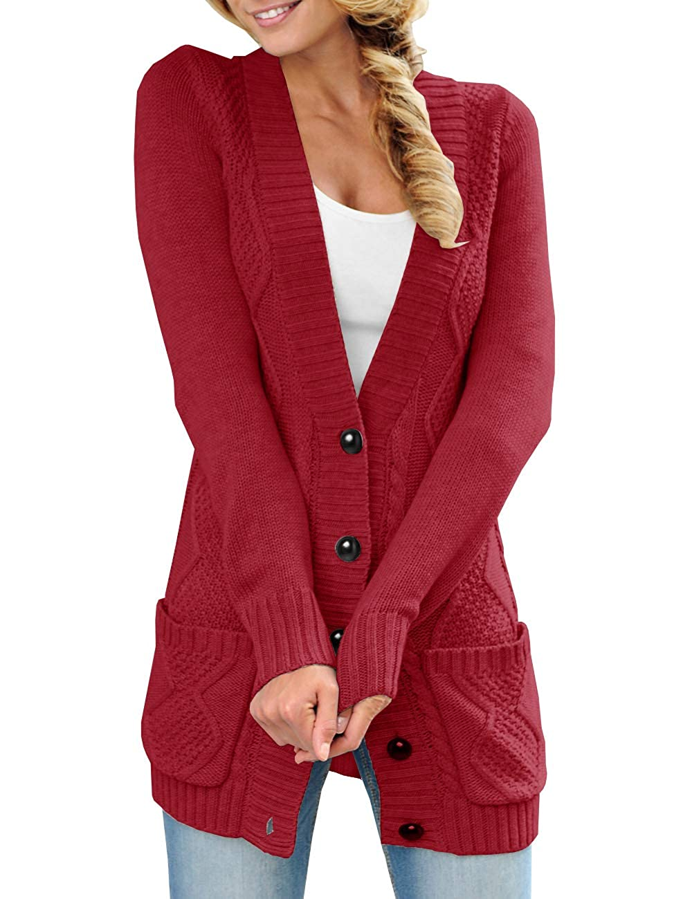 Womens Long Button Down Cardigan Sweaters Pockets Open Front Knit Chunky  Outwear Coat at Amazon Women\u0027s Clothing store