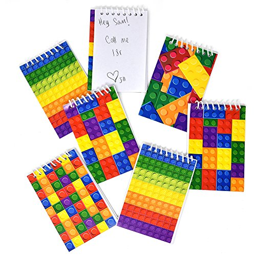 60 Bulk Pack Colorful Building Block Bricks Mini Notepads Spiral Notebooks Kids Carnival Birthday Theme Party Favor Supplies Decoration for Teens Girls Boys Teacher Children Classroom Rewards Boy Mini Favor