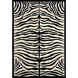 Abacasa Terra Safari Area Rug, 4' by 6', Black/Ivory