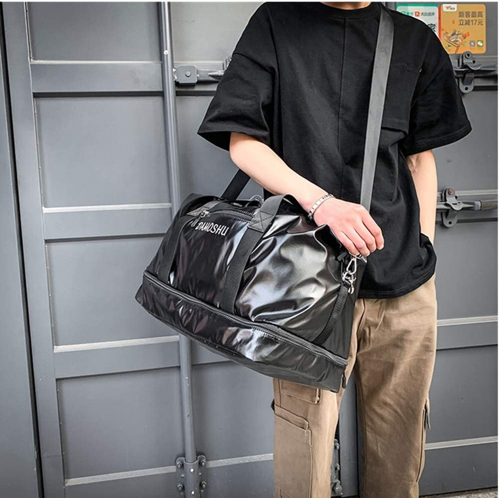 Color : Black FeliciaJuan Duffel Tote Bag Mens Overnight Weekend Travel Bag Large Waterproof PU Leather Holdall Sports Tote Bag Travel Carry On Duffles Bags Luggage Bags Handbag Shoulder Bags