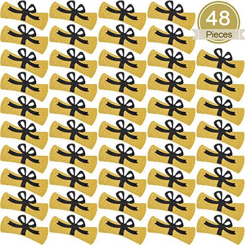 48 Confetis de Diploma Confetis de Oro Brillo Universitario 2.9 Pulgadas de Decoraciones de Diploma Centros de Mesa de Graduacion para Suministros de Fiesta Graduacion de Escuela Secundaria 2020
