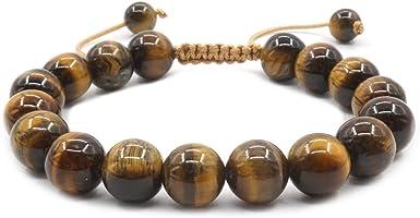 """Natural Stone Warp Bracelet Tiger Eye Gem Adjustable Bracelet Mens //Womens 7.5/"""""""