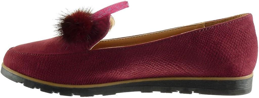 Angkorly - Scarpe da Moda Mocassini bi-Materiale Donna PON PON Gioielli a Grana Tacco Tacco Piatto 1.5 CM Bordo